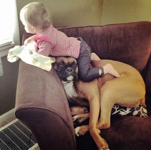 Doggie giving a head's up to infant