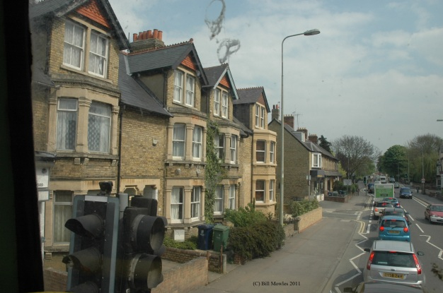 Houses along street in Oxford, England