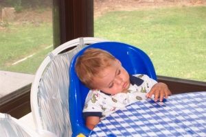 Child fell asleep waiting for lunch!