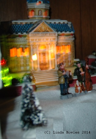 Christmas village that is out of focus