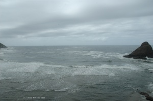 Ocean waves and rock formations, Oregon coast