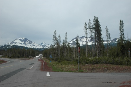 Outside Bend, Oregon facing mountains in the Cascade Range - fork in the road