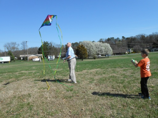 Grandfather and grandson flying a kite on a sunny day.