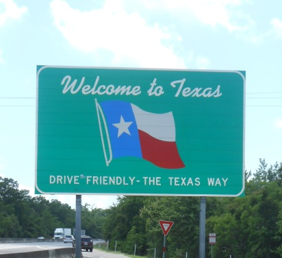 Welcome sign at the Texas state line