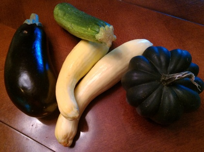 Eggplant, Zucchini, Summer Squash and Acorn Squash from vegetable box.