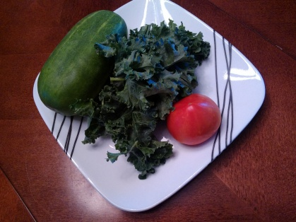 Cucumber, Curley Kale and Tomato from vegetable box.