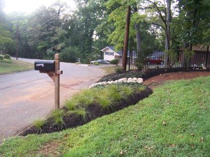 Front yard along street after landscaping