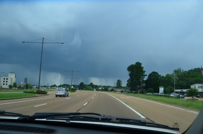 Driving into the rainstorm in Mississippi