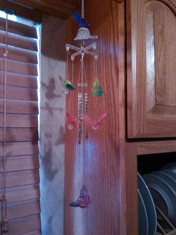 Wind chimes gracing the kitchen