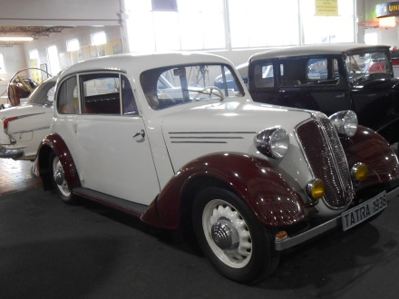 A 1938 Tatra at the Lane Motor Museum. This car was made in Czechoslovakia.