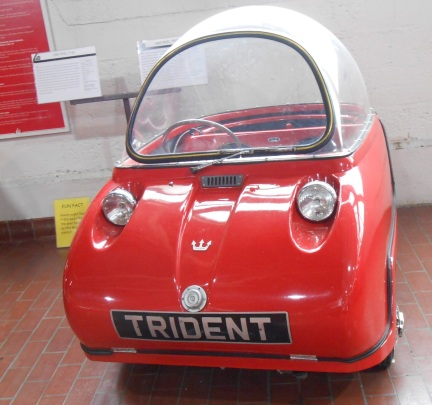 The Trident is a 3-wheel vehicle at the Lane Motor Museum.