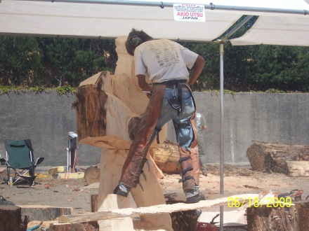 Sculptor of wood with chain saw working on large piece.