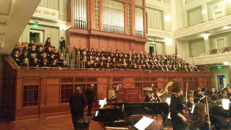 The choir and symphony ready for the music to begin.