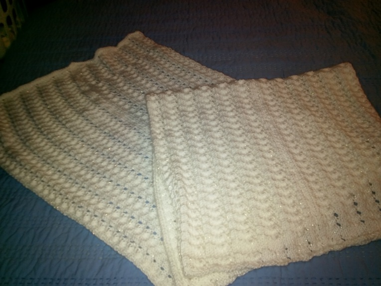knitting - white shawl