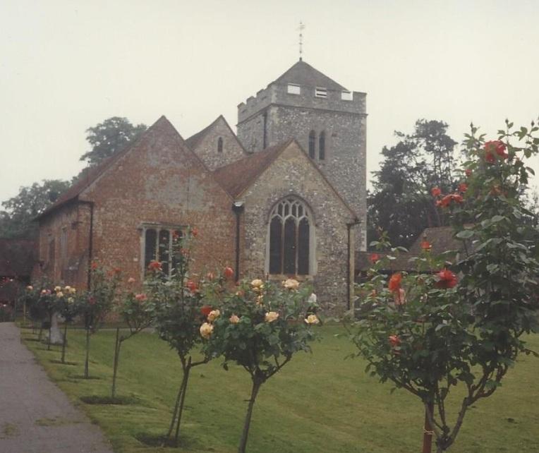 Church with stianed glass window