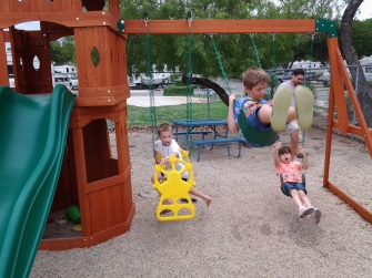 Children swinging