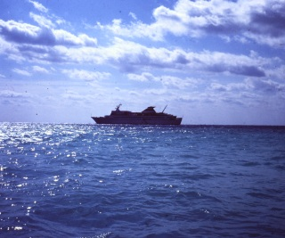 Cruise ship at distance