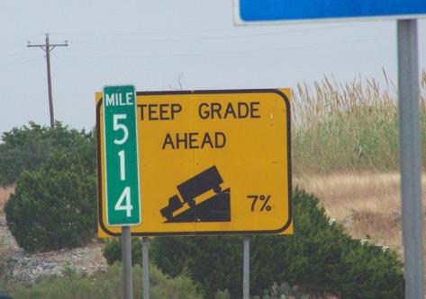 downhill grade sign