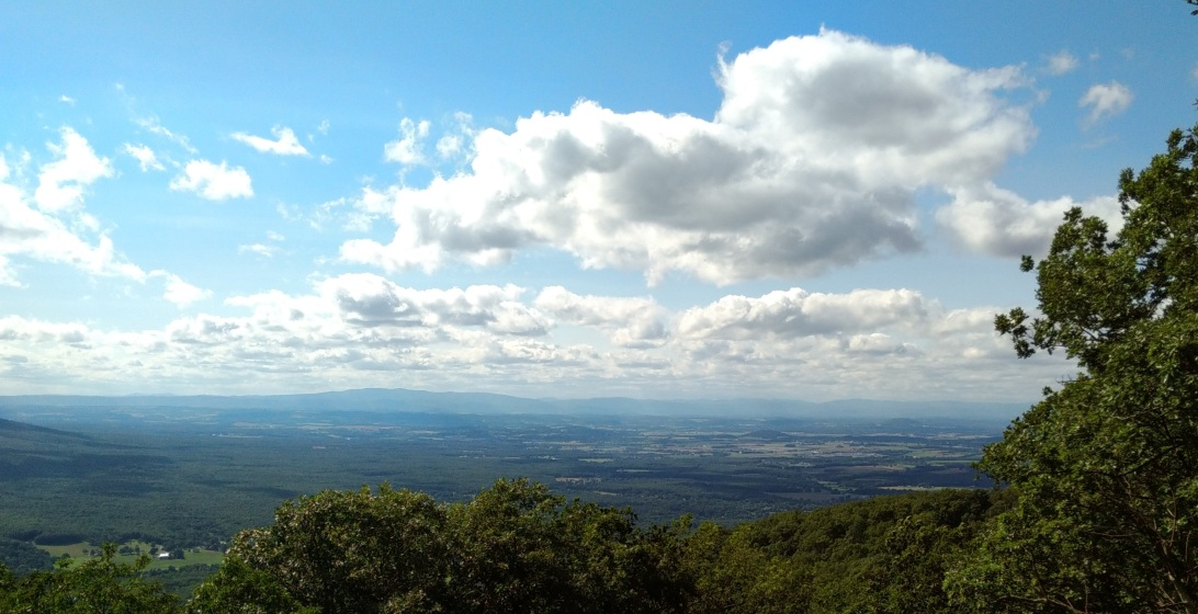 The Shenandoah Valley in the distance, taken at an overlook that was not blocked along the Blue Ridge Parkway.