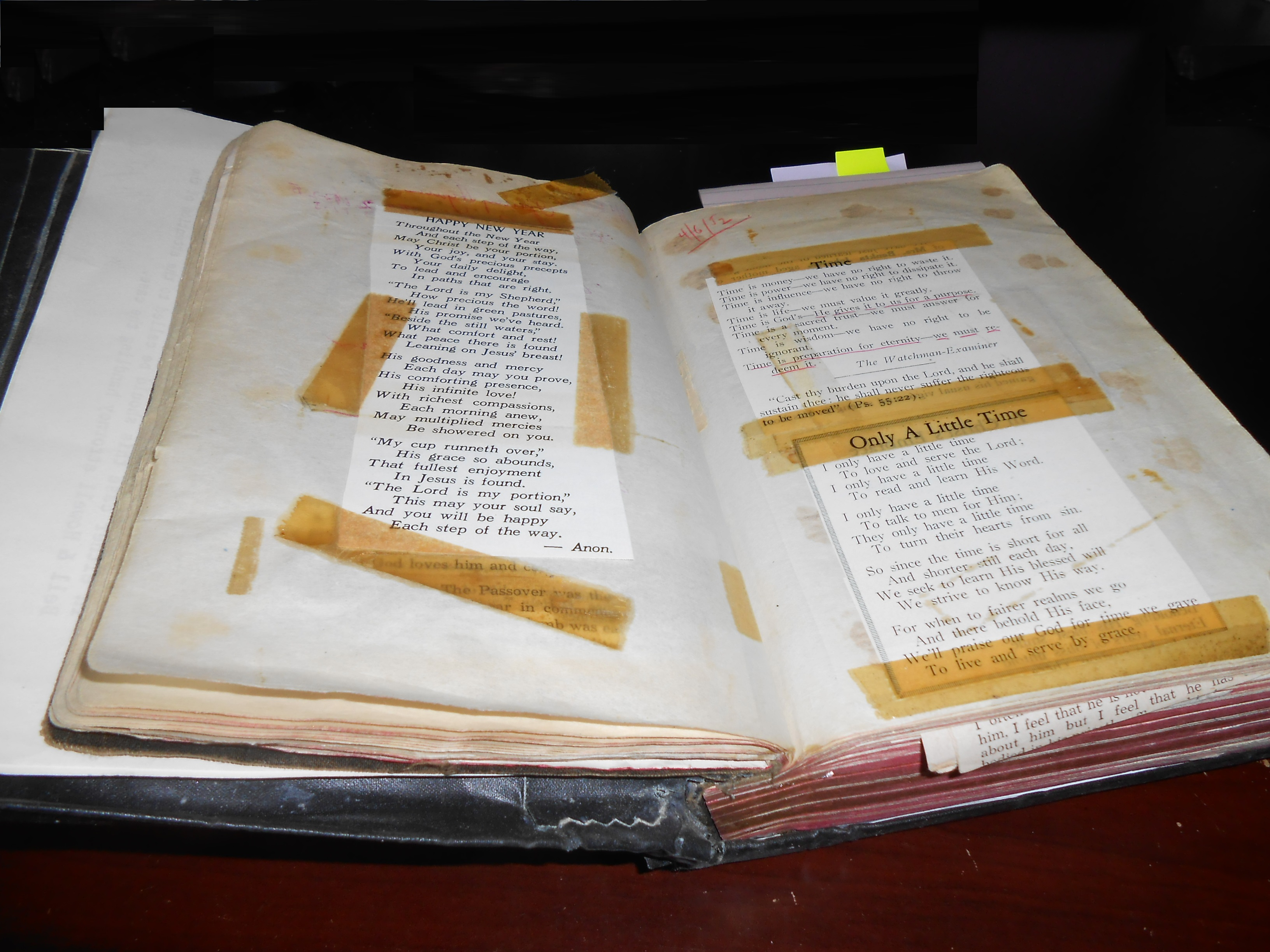 Bible - Uncle Ed's note pages