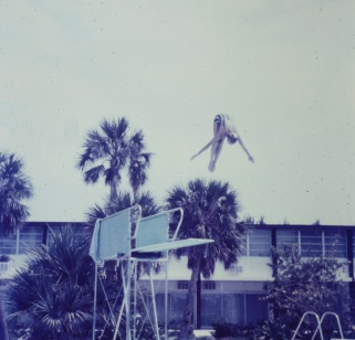 Diver at hotel pool in Florida perfect