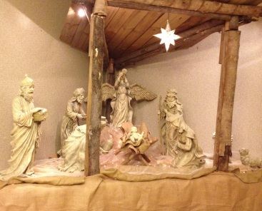 Nativity with angel and wisemen