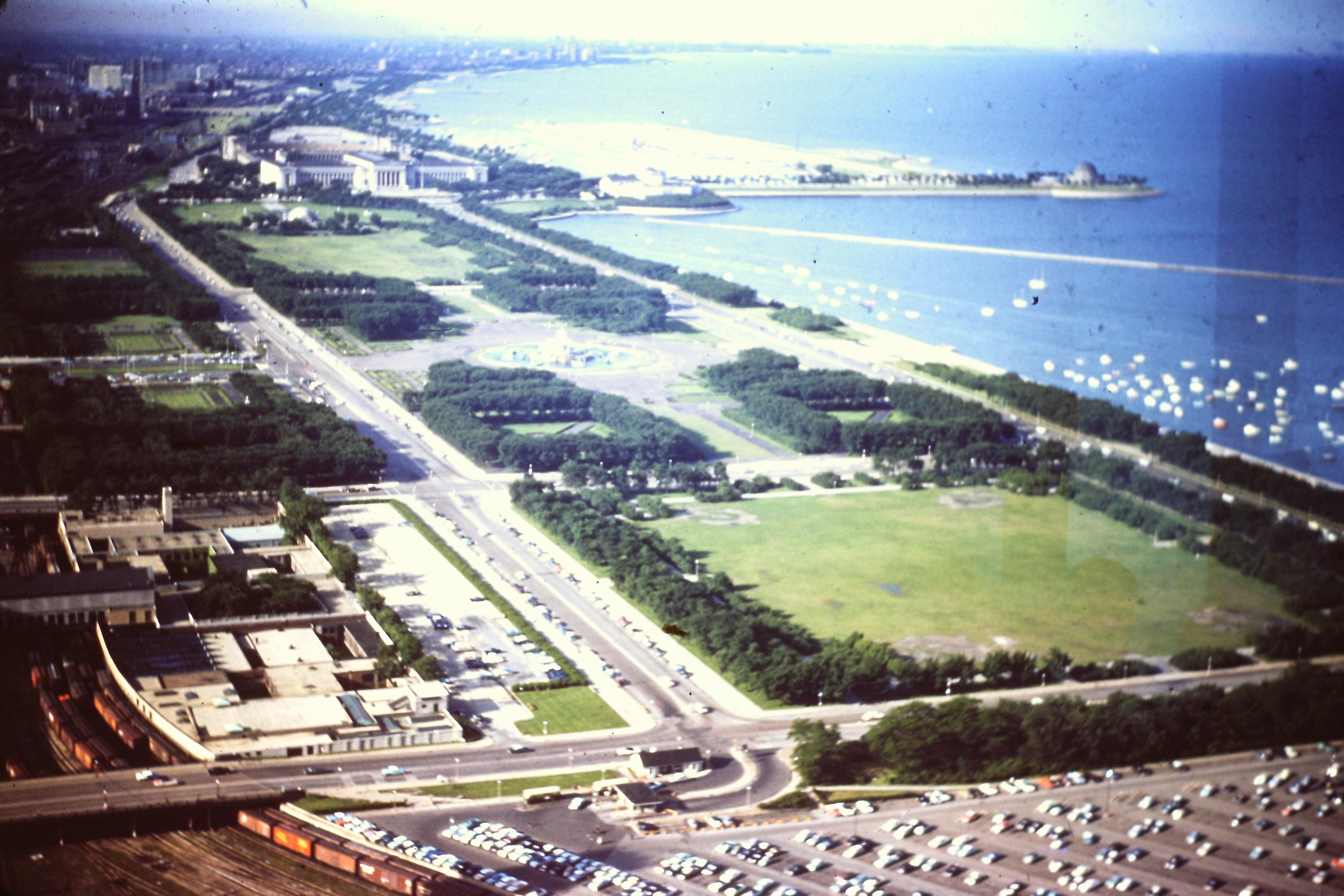 Chicago coastline along Lake Michigan circa 1960