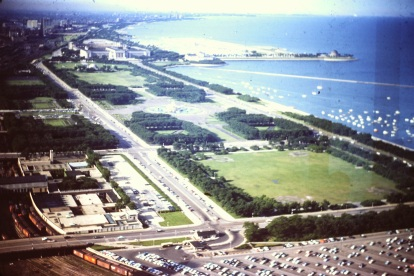 Chicago coastline along Lake Michigan circa 1960