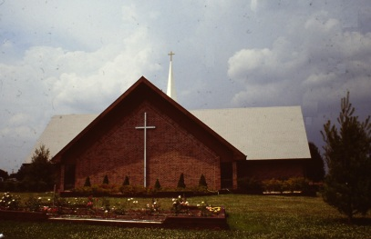 Church with cross in front